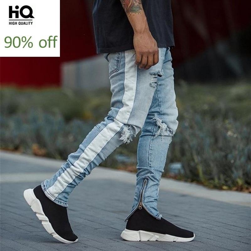 Fashion Casual Knee Hole Fake Zipper Slim Vintage Jeans Men Ripped Skinny Jeans Trousers Men Stripe Pencil Pants Streetwear New