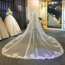 Luxo longo trem véu de casamento longo véu de noiva 2020
