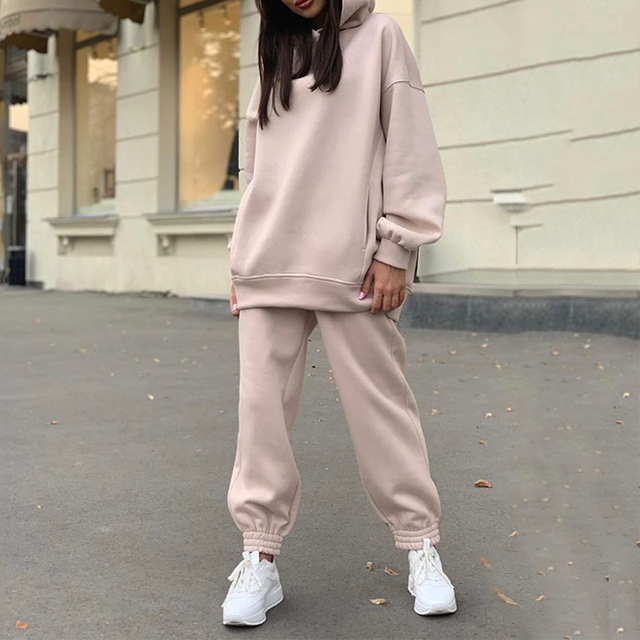 Women Elegant Solid Sets For Women Warm Hoodie Sweatshirts And Long Pant Fashion Two Piece Sets Ladies Lace Up Sweatshirt Suits 6