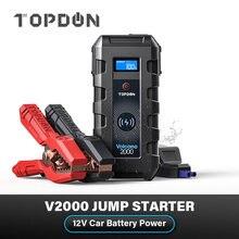 Power Bank TOPDON V2000 Car Jump Starter 20800mAh 12V 2000A Peak Emergency Starter SOS Flashlig 10W Wireless Car Battery Charger