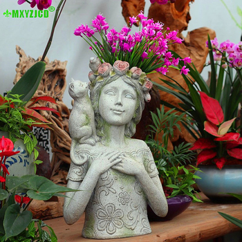 Rose Boy Girl Resin Flower Pot Kitty Bird Sculpture Artwork Desktop Decoration Home Storage Container Garden Potted Decoration 1