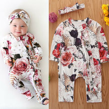 Infant Baby Girl Floral Romper Clothes 0-18M