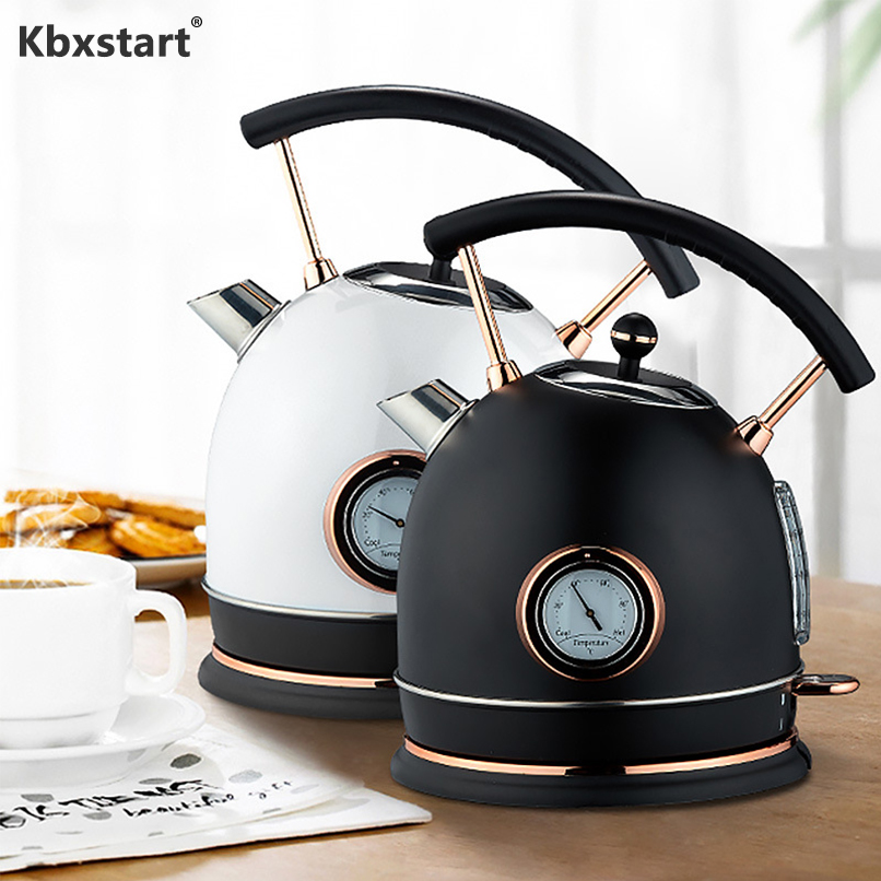 Kbxstart 1800W Creative Retro Electric Kettle Stainless Steel Automatic Power Off Teapot Kitchen 1.8L Kettle With Thermometer