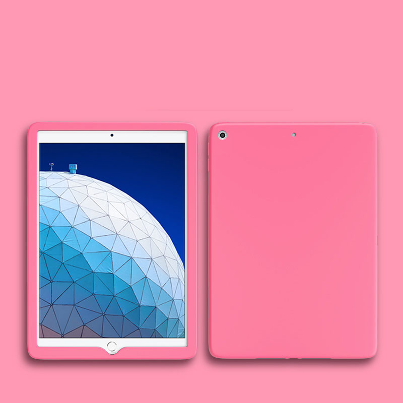 Pink Pink Shockproof Case For Apple iPad 10 2 inch 2019 2020 Soft Silicone Rubber Protective Tablet Case