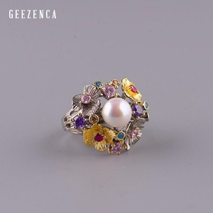 Image 4 - GEEZ925 Sterling Silver Flowers Baroque Pearl Ring Designer Jewelry For Women 2019 New Vintage Romantic Open Ring Party Female