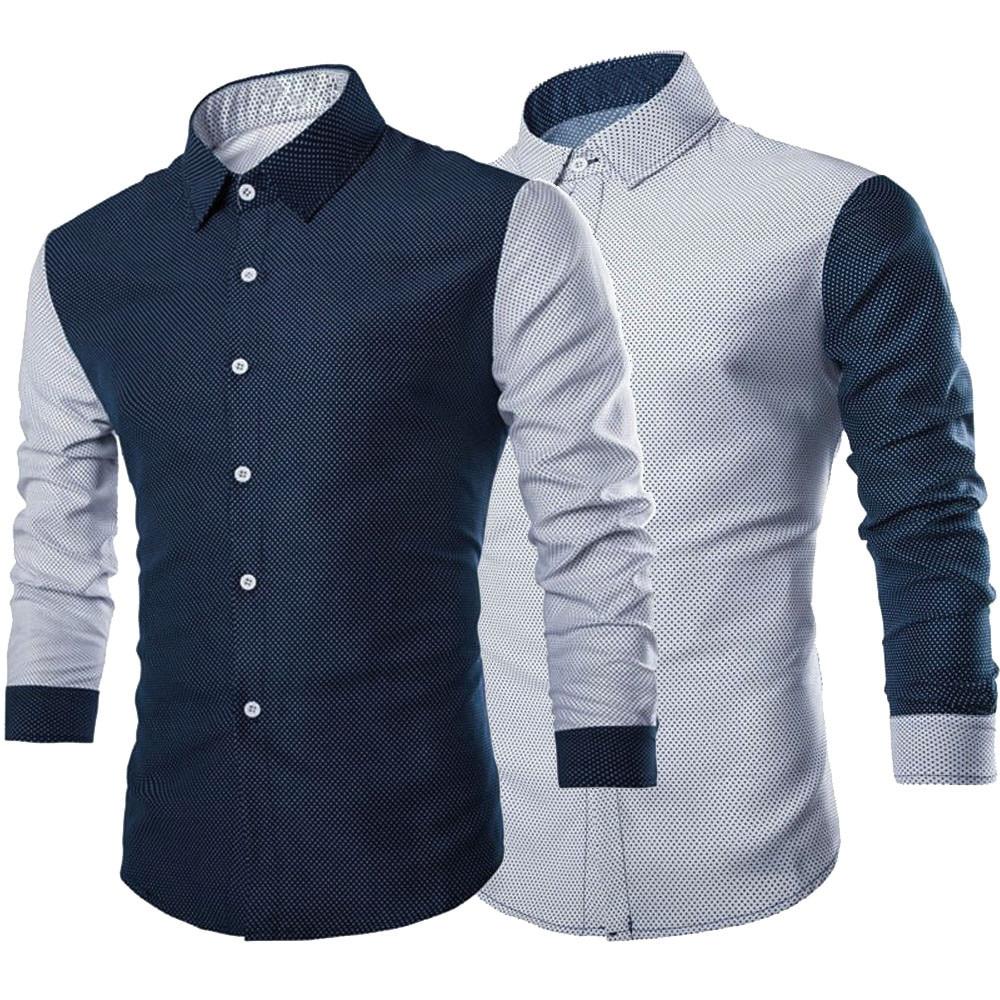 Men Shirt Fashion Mens Luxury Long Sleeve Shirt Casual Slim Fit Stylish Blouse Shirts Tops Autumn Winter Casual Basic Blouse