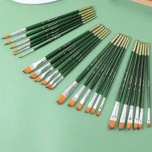 6 artista pintura em aquarela escovas escova de óleo acrílico plana & ponta pintura kit acrílico gouache pintura pincel caneta arte suprimentos desenhar