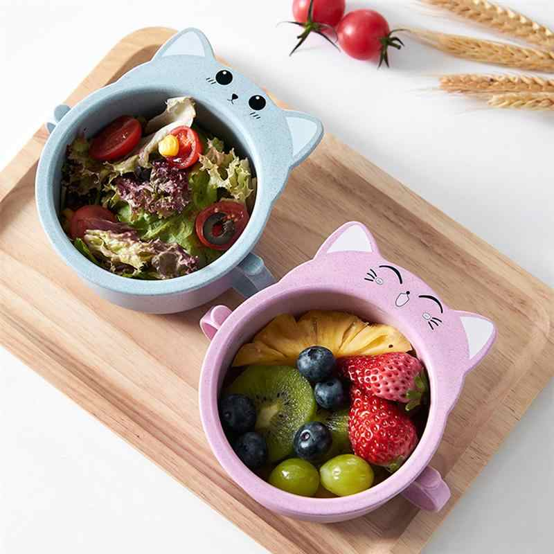 Wheat Straw Bowl Cat Design Small Bowl with Handle Eco-friendly Big Salad Meal Mug Children Dinnerware