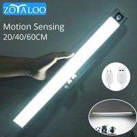 Zoyaloo-Lámpara de aluminio Ultra delgada con Sensor de movimiento PIR para armario, luz nocturna LED recargable, 20/40/60cm