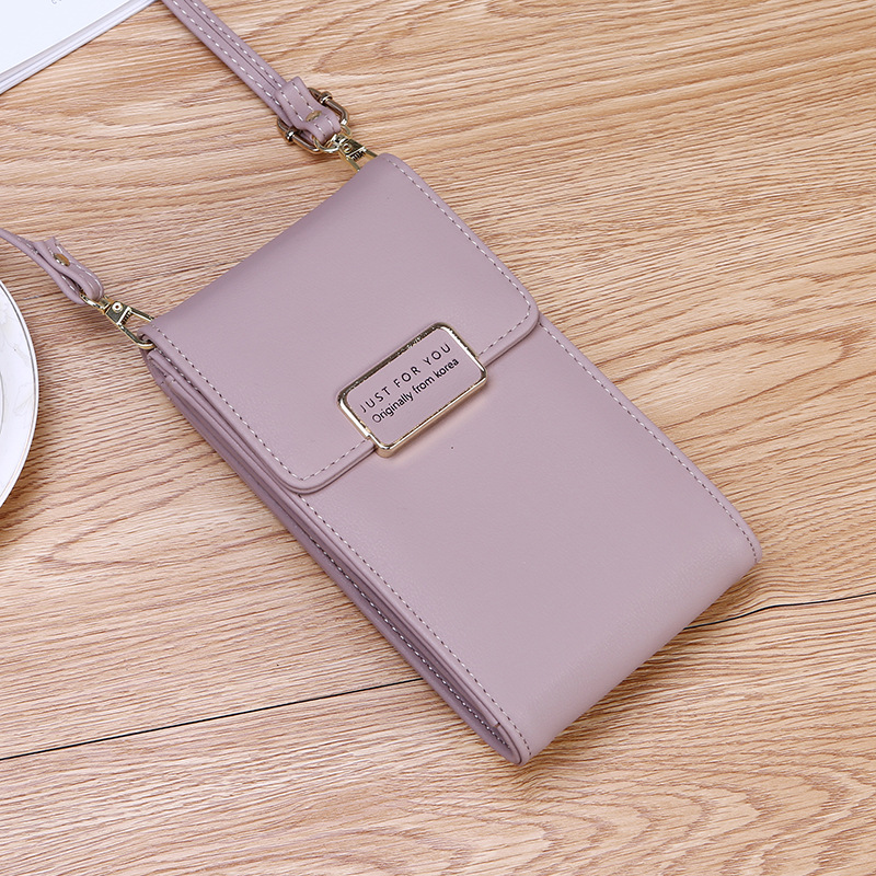 New Women Multifunction Phone Wallet Bag Solid Color Crossbody Bag PU Leather Clutch Purse Shopping Lady Purses Clutch Wallet