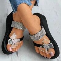 2021女性のサンダル夏のスリッパ女性のラインストーンバタフライ靴オープントゥ女性のファッション快適なエレガントな厚底靴
