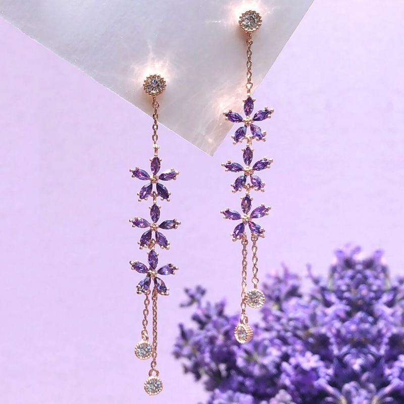 MENGJIQIAO New Korean TV Star Purple Flower Crystal Tassel Long Drop Earrings For Women Elegant Party Pendientes Jewelry Gifts
