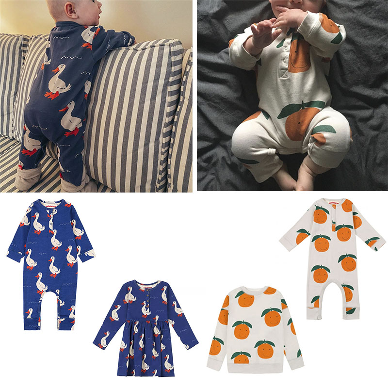 2020 Nadadelazos Baby Boys Long Sleeve Rompers Orange Print Infant Spring Jumpsuits Toddler Fashion Onesie Infant Summer Clothes