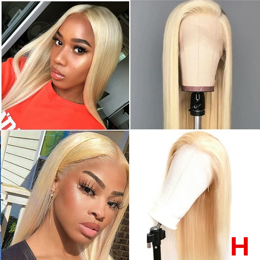 613 Blonde Colored 13*6  Deep Part Lace Front Human Hair Wigs 180% Density Brazilian Remy Straight PrePlucked Hairline