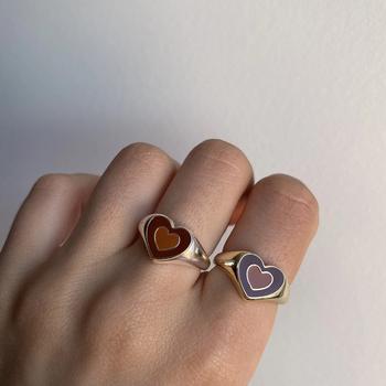 Nowy Ins kreatywny prosty kolorowy dwuwarstwowy miłość pierścień z sercem Vintage pierścień z sercem s dla kobiet dziewczyn biżuteria tanie i dobre opinie UETEEY CN (pochodzenie) Ze stopu cynku Kobiety Metal Śliczne Romantyczne R090 moda Na imprezę Pierścionki