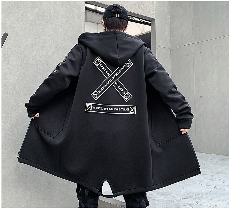Men's <font><b>winter</b></font> slim long trench coat <font><b>jacket</b></font> printing <font><b>military</b></font> <font><b>style</b></font> black hooded coat hip-hop clothing autumn Korean male <font><b>jacket</b></font> image