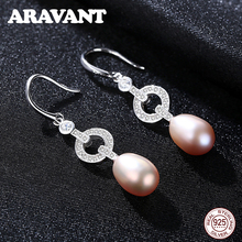 925 Sterling Silver Natural Freshwater Pearl Drop Earrings For Women Fashion Pearl Earrings Jewelry pearl earrings natural freshwater pearl long chain drop earrings 925 sterling silver jewelry for women pearl jewelry 3 color