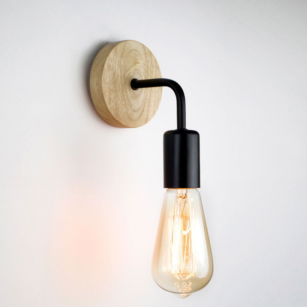Wood Wall Lamp Vintage Industrial Wall Lights Dimmable Retro E27 Light Bulb Wall Light For Home Loft Indoor Decor Fixtures 4