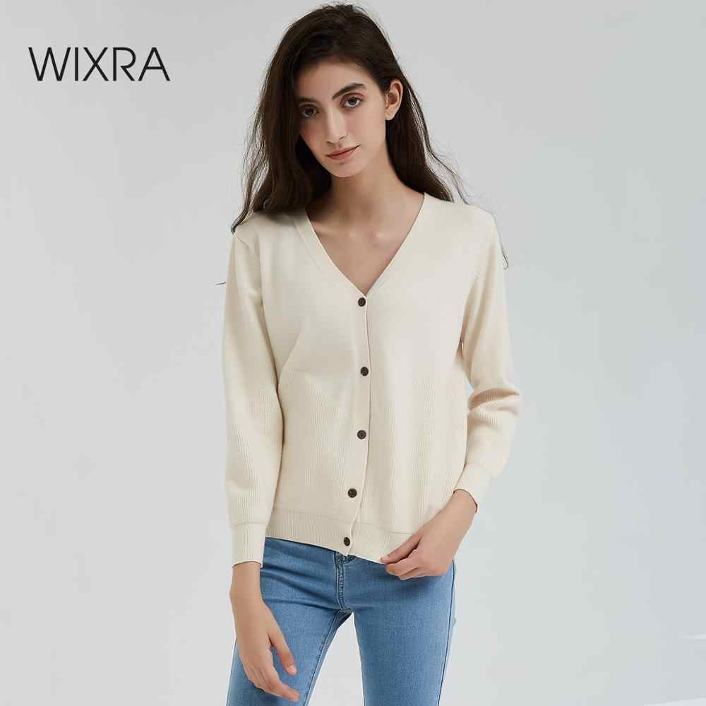 Wixra Women Knitted Cardigan Sweater Autumn Winter 2019 Casual V-Neck Long Sleeve Loose Knit Sweater Coat Female Tops