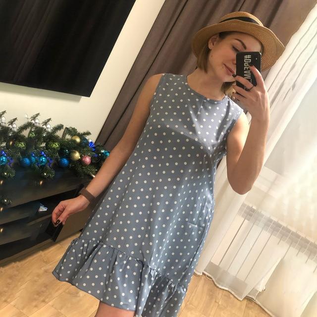 Women Summer Dress Fashion Polka Dot Sleeveless Beach Mini Dress For Women Casual Print Short Loose Blue Sundress 2020 Plus Size 5