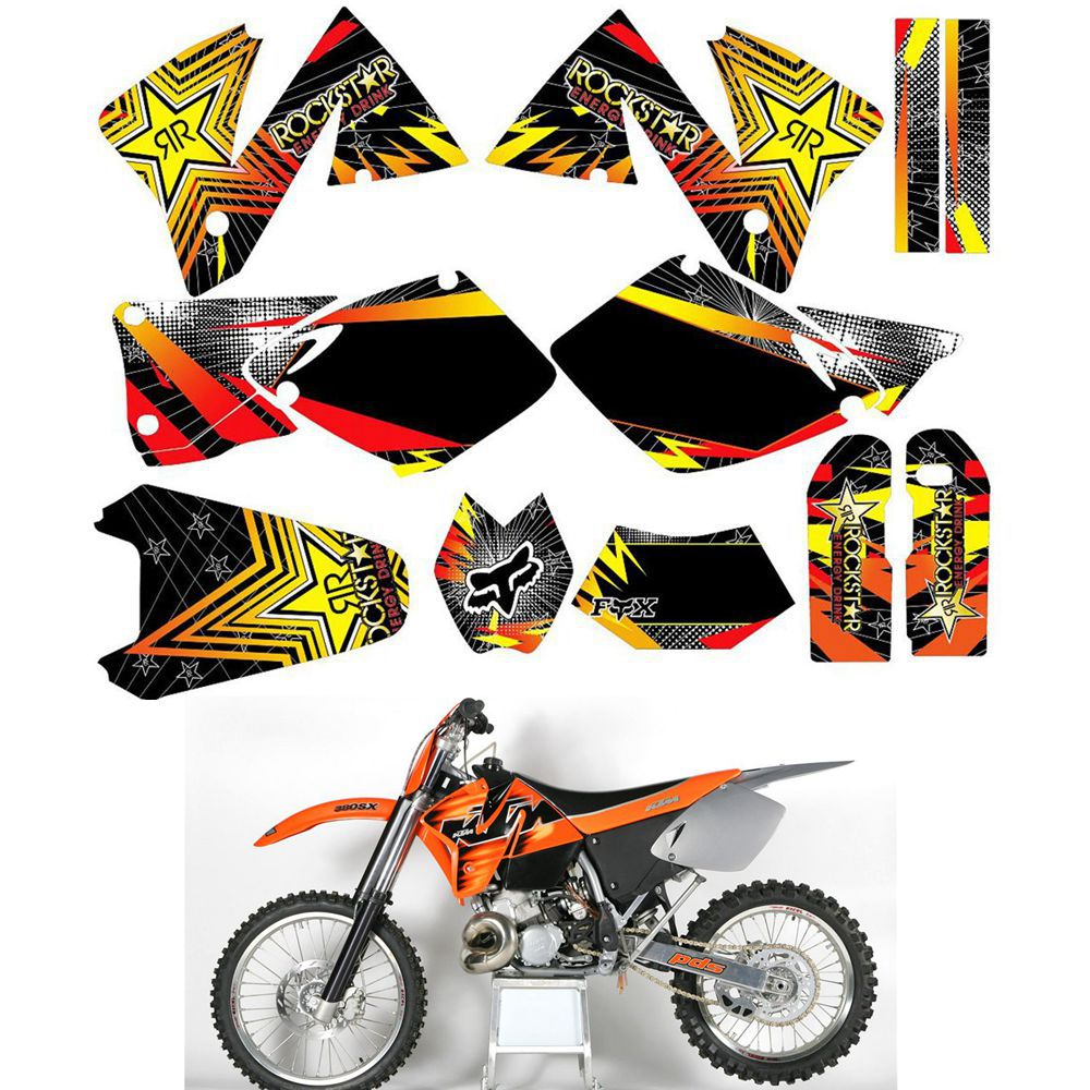 For 1998 1999 2000 2001 2002 2003 KTM EXC 125 200 250 300 380 400 520 Customized Number Graphics Backgrounds Stickers Kit Decal