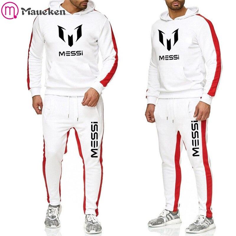 2019 Tracksuit Men Hoodie Set Off Messi White Sportswear Fleece Sweatshirt Suit Bracelona Stripes Sweatpants Malechandal Hombre