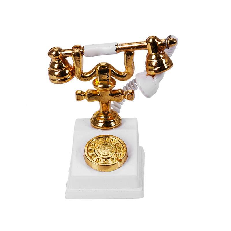 1/12 Dollhouse Miniature Retro Phone Vintage Telephone White & Gold