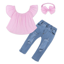 New Fashion Toddler 3PCS Set Kids Baby Girl Outfits Pink Off Shoulder Tops + Hole Jeans + Headband 9M-7T Baby Girl Clothes new fashion kids girl clothes tunic tops flare sleeve t shirts infant baby girl ripped denim pants hole jeans outfits clothes