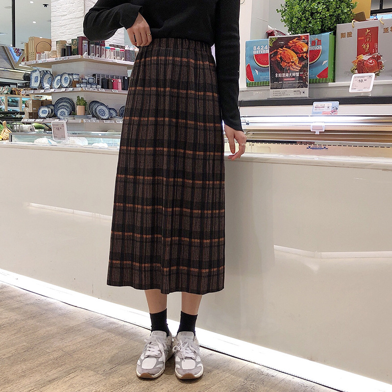 Photo Shoot 2019 Autumn And Winter New Style Korean-style Retro Plaid High-waisted Slim Fit Slit Pleated Skirt