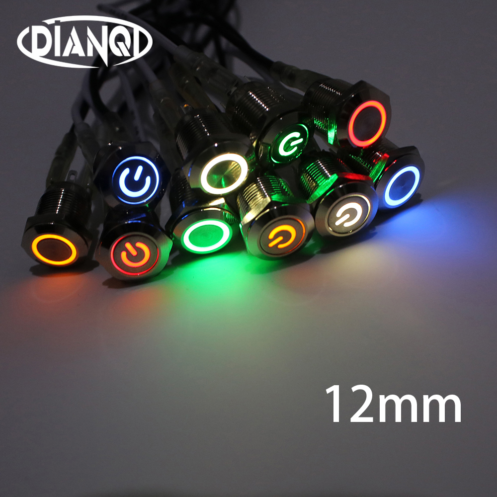 12mm Flat Round Head Waterproof Momentary Latching Metal Push Button Switch LED Light Car Horn Auto Switches Power Self-Recovery