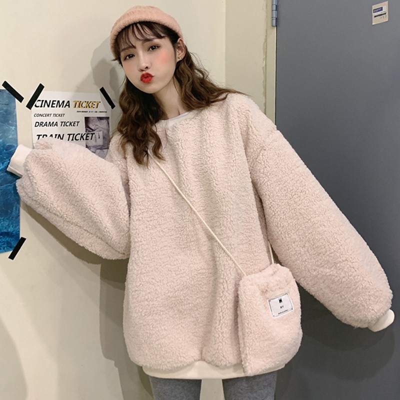 Fashion Women Plush Warm Sweatshirt Cute Candy Color Long Sleeve Solid Color Pullover Tops Sweatshirt Jumper