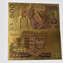 цены Hot Poland Banknote Gold Foil Polish Banknote 500 PLN Set Poland Currency designed colored 24K for Bank souvenir gift