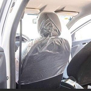 Image 3 - أغطية مقاعد السيارة البلاستيكية الناعمة التي يمكن التخلص منها ، مجموعة من 50 أو 100 أغطية مقاومة للماء لأغطية عجلات القيادة التي يمكن التخلص منها