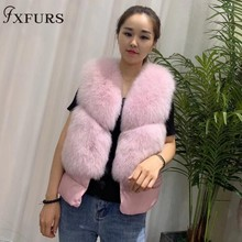 New Natural Real Fox Fur Vest Women Waistcoat Short sleeveless Gilets Winter Warm Gril's Down Vest Real Fur Jacket Fox Fur Coats недорого