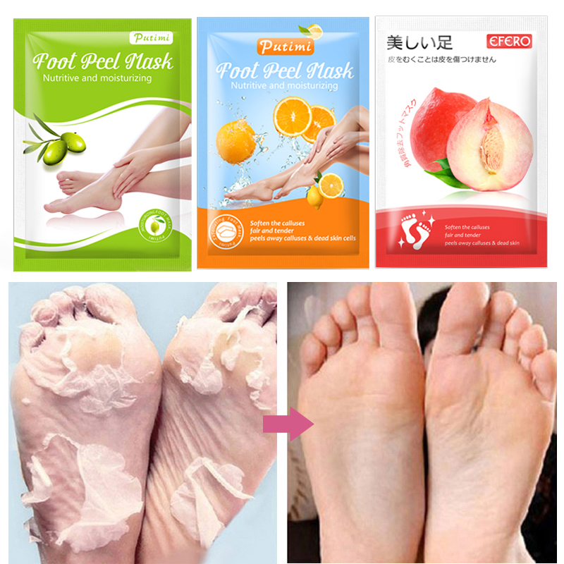 Mascarilla Exfoliante para pies, mascarilla Exfoliante para pies, calcetines exfoliantes para pedicura, grieta de talón, elimina piel muerta, 3 pares