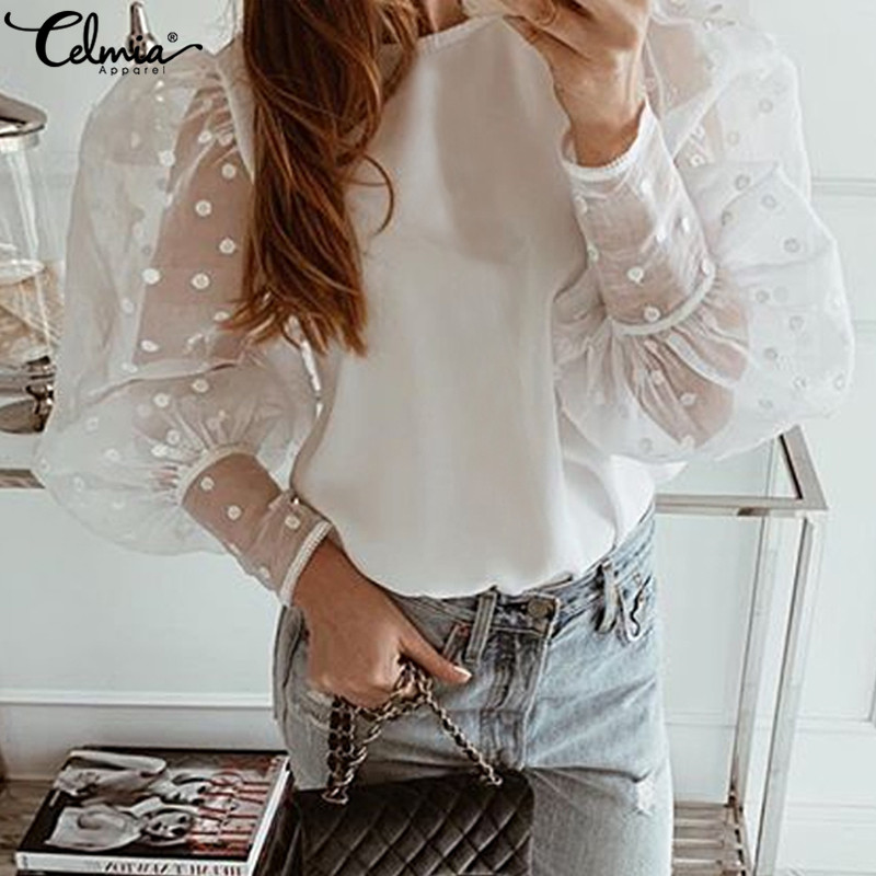 Women White Lace Blouses Plus Size Polka Dot Summer Tops 2019 Celmia Puff Sleeve Female Shirt Casual Sheer Blusas Feminina S-5XL