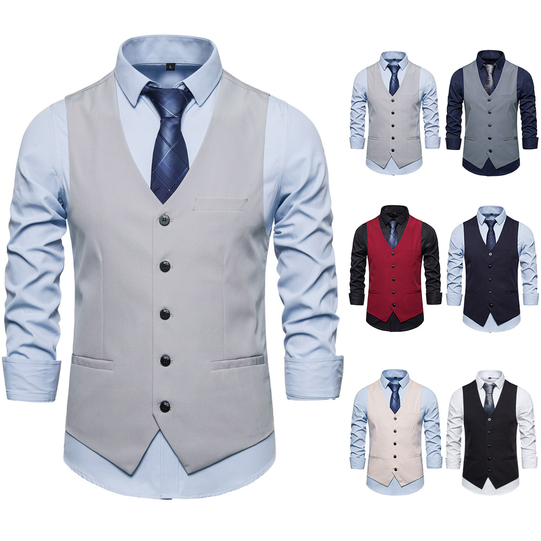 2020 New European And American Business Vest  Single-breasted Multi-pocket Gentlemen  Mens Vest