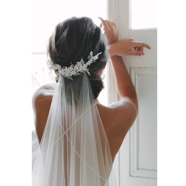 Pente branco com borda cortada 2m, véu de noiva longo com pérolas brancas para casamento véu