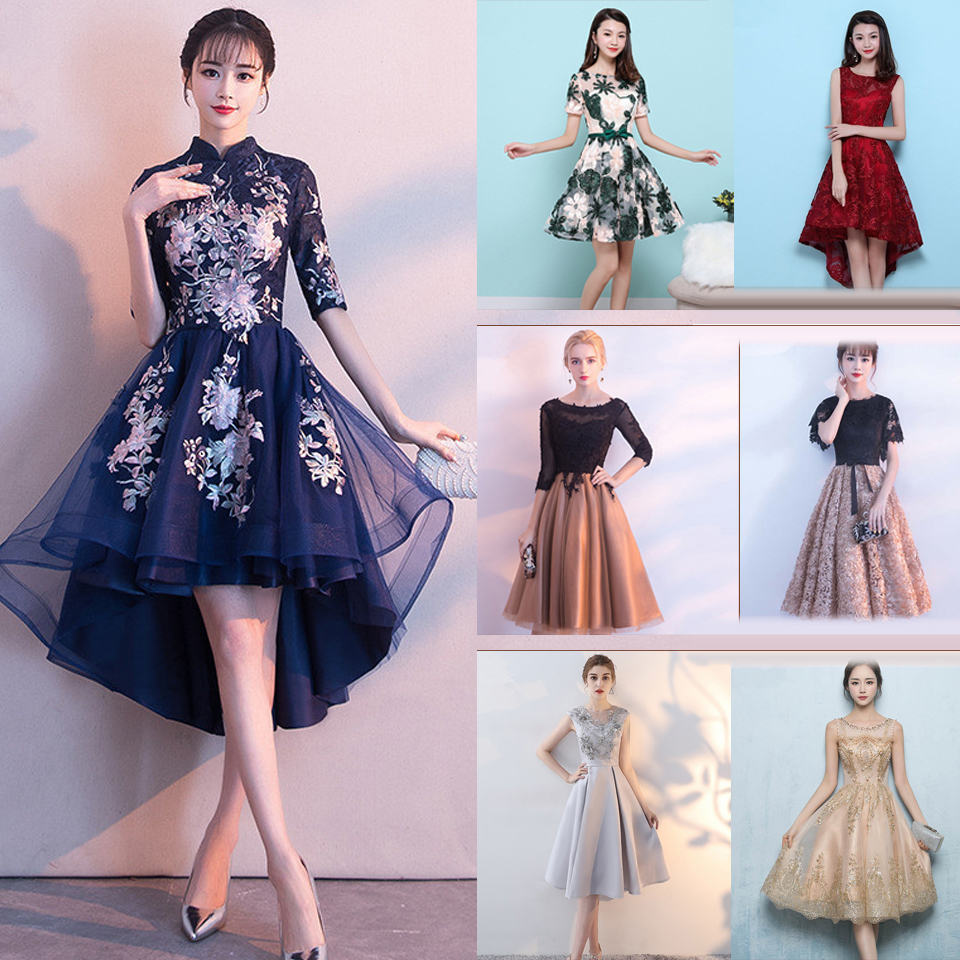 In Stock High Collar Half Sleeve High-low  Zipper Tea Length Formal Dresses Embroidery Party Full Porm Dress More Styles MX002