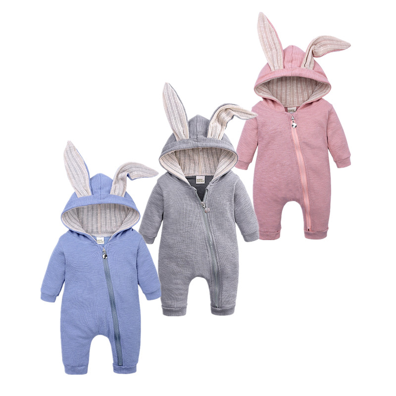 Tops Spring And Autumn Mother Baby Jumpsuit  With Big Ear Newborn Baby Clothes  Zipper Cute Kids Clothing
