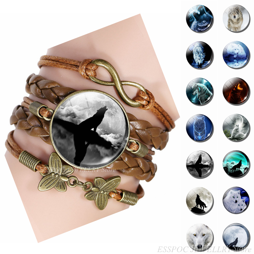 Full Moon White Wolf Bracelet Unisex Glass Cabochon Jewelry Men Women Vintage Punk Leather Animal Bracelets Gift Dropshipping in Chain Link Bracelets from Jewelry Accessories
