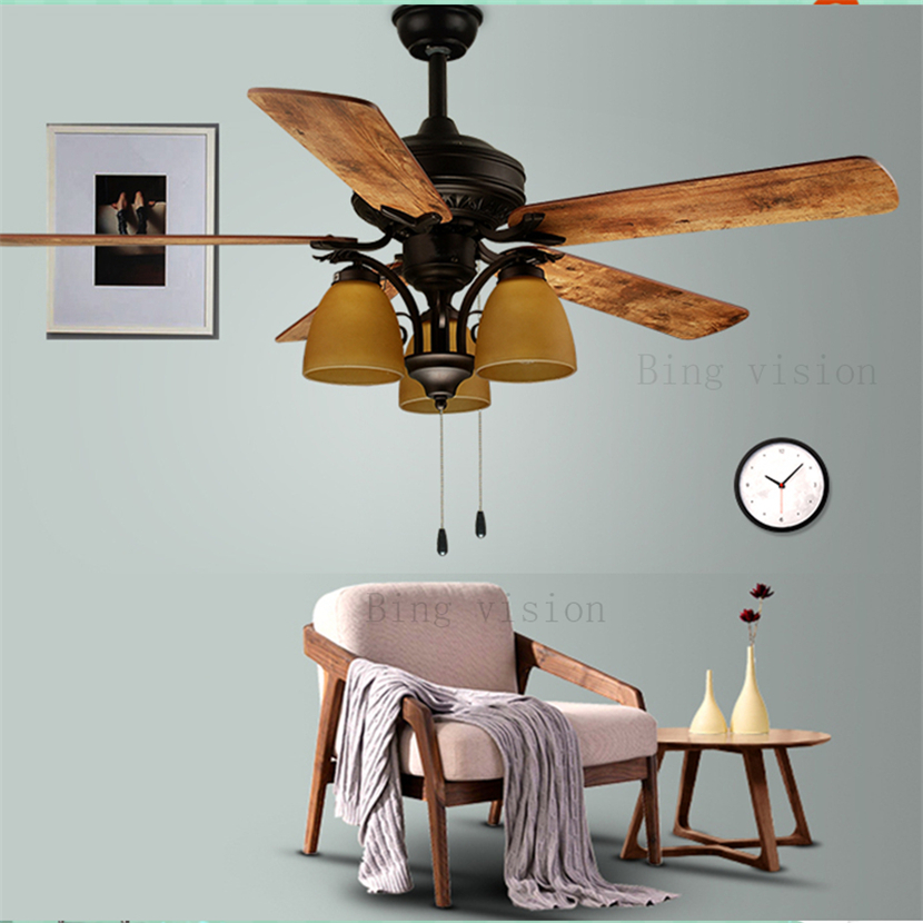 American Industrial Wind  E27 LED Wooden Ceiling Fans With Lights Remote Control Living Room Bedroom Home Fan Lamp 220 Volt