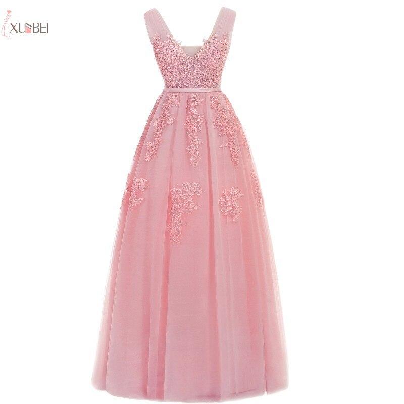 Perle rose Tulle longue robe de soirée 2019 élégant dentelle Applique une ligne formelle robe de soirée Double col en V sans manches robe de soirée