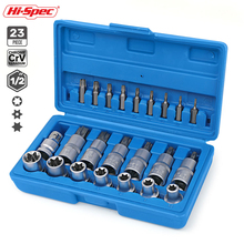 Hi-Spec 23Pc Chroom Vanadium Staal Socket Set E Torx Bit Socket Adapter Head Set Voor Ratelsleutel herramientas Auto Reparatie Tool