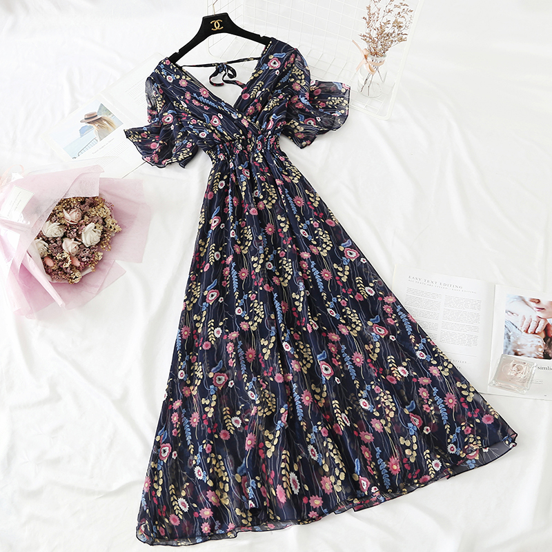 Summer Fairy Dress Women French Style Vintage Retro Chiffon Dress Short sleeve Casual Elegant Floral Print Dress Women 2021 New 14