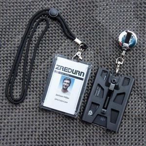 Image 2 - zayex 2PCS Badge Holder Vertical Top Load Four Cards Holder   Hard Plastic with Heavy Duty Lanyard and retractable key holder