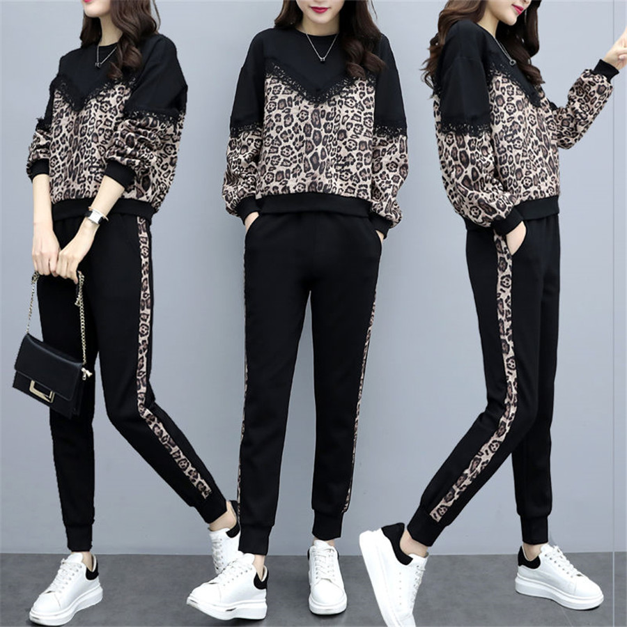 Tracksuit For Women Female Autumn Fashion Plus Size Leopard Pants +crop Tops Suits Women's Large Size Two-piece Sets Sweatshirts