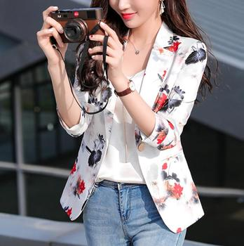 Summer Fashion Female Pink Whte Print Blazers And Jackets Women Long Sleeve One Button Women Blazer Coat Spring 1