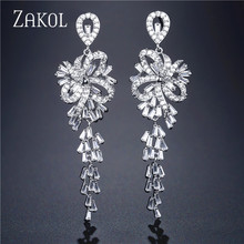ZAKOL New Luxury Cubic Zirconia Long Dangle Drop Earrings for Women Shining Crystal Flower Bridal Wedding Jewelry FSEP2108