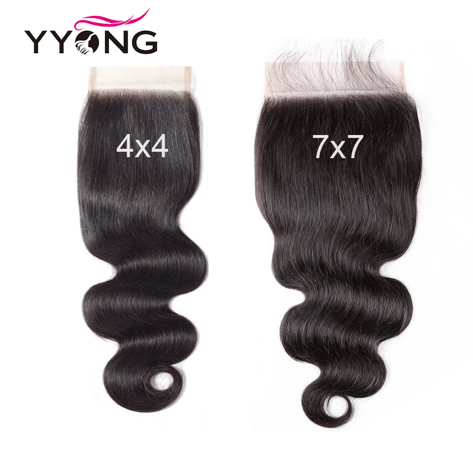 Yyong Body Wave Bundles With 4x4 & 7x7 Closure     3/4 Bundles With Pre-plucked Frontal Closure 5